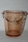 **Vintage Dark Pink Depression Glass Floral Etched Ice Bucket