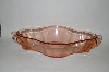 **Large Vintage Pink Depression Glass Swan Handled Serving Dish