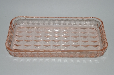 ** Vintage Pink Depression Glass Square Vanity Tray
