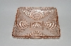 "+MBA #61-085  Vintage Pink Depression Glass Square ""Fancy Pattern"" Candy Dish"