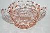 "** Vintage Pink Depression Glass ""Cube"" Sugar Bowl"