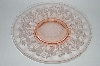 "**Set Of 4 Vintage Pink Depression Glass ""Grapevine Pattern"" Raised Serving Dish/Dinner Plate"