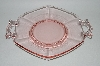 "**Vintage Pink Depression Glass ""Fancy Handled"" Serving Plate"