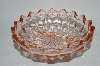 "**Vintage Pink Depression Glass ""Cube"" Three Footed Serving Bowl"
