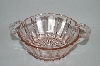"**Vintage Pink Depression Glass ""Fancy Patterned"" Handled Serving Bowl"