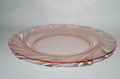 """SOLD""  MBA #62-127  Set Of 4 Vintage Pink Glass ""Vereco"" Clear Pink & Satin Glass Dinner Plate"