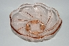 "**Vintage Pink Depression Glass ""Footed Swirl Pattern Bowl"""