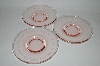 "**Vintage Pink Depression Glass ""Set Of 3"" Saucers"