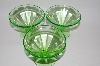 "**MBA #62-179   Vintage Green Depression Glass ""Set Of 3""  Federal Glass Sherbet Cups"