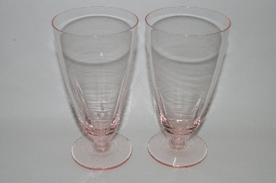 "**MBA #62-171  Vintage Pink Depression Glass  Set Of 7  Fancy Footed  ""Water Glass's"""