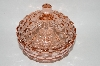 "**Vintage Pink Depression Glass ""Cube"" Round Candy Dish With Lid"