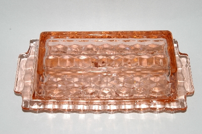 "**MBA #63-224   ""Vintage Pink Depression Glass Square ""Cube"" Lidded Butter Dish"