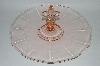 **Vintage Pink Depression Glass Fancy Handled Sandwich Server