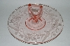 "**Vintage Pink Depression Glass ""Fancy Floral Etched"" Sandwich Server"