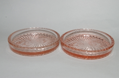 """SOLD""  Vintage Pink Depression Glass""Round "" Coasters Set Of 6"