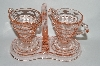 "**MBA #63-143   ""Vintage Pink Depression Glass ""Tearoom"" Cream, Sugar & Stand Set"