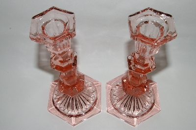 **MBA #63-228  Vintage Pink Depression Glall Birte Pink Tall Candle Stick Holders Set Of 2
