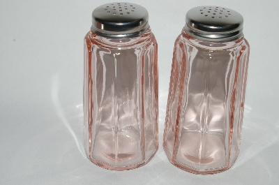 "MBA #63-260  Vintage Pink Depression Glass ""Pink Panel""  Salt & Pepper Shakers"