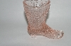 "**MBA #63-285   Vintage Light Pink Glass Ladies ""Victorian Boot"""
