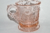 "** Vintage Pink Glass Small ""Cat & Dog"" Mug"