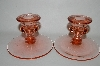 "**MBA #64-155   "" Pair Of Vintage Pink Depression Glass Candle Stick Holders"