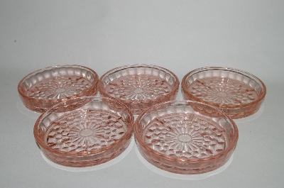 **MBA #64-240  Set Of 5 Vintage Pink Glass Coasters
