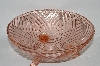 "**Vintage Pink Depression Glass ""Swirl"" Patterned 3 Footed Serving Bowl"