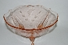 ** Vintage Pink Depression Glass Floral Etched 3 Footed Serving Bowl