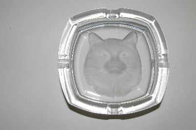 "**MBA #64-260   Beautiful Square ""Cat"" Embossed Ashtray"