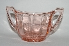 **Vintage Pink Depression Glass Floral Etched Sugar Bowl