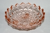 "+MBA #64-256  Vintage Pink Depression Glass 3 Footed  ""Cube"" Candy Dish"