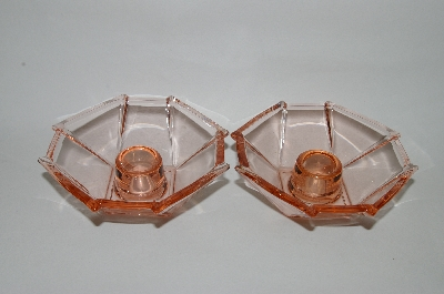 "**MBA #64-231   "" Pair Of Vintage Pink Depression Glass Square Candle Stick Holders"