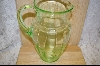 "**10"" Green Glass Etched Pitcher #5046"