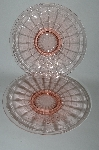 "**MBA #64-195   "" Set Of 3 Vintage Pink Depression Glass Fancy Rose Pattern Plates"
