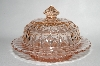 "** Vintage Pink Depression Glass ""Windsor Diamond"" Butter Dish"