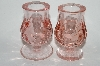 "**MBA #64-242  "" Set Of Two Vintage Pink Glass Candle Stick Holders"