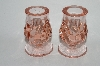 **MBA #64-245  Pair Of Vintage Pink Glass Candle Stick Holders