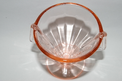 **MBA #64-460  Vintage Pink Depression Glass Two Handled Sugar Bowl