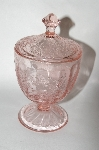 "+MBA #64-204  Vintage Pink Depression Glass ""Poinsettia Pattern"" Candy Dish With Lid"