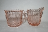 "** Vintage Pink Depression Glass ""Sierra"" Cream & Sugar Set"