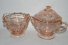 "** Vintage Pink Depression Glass ""Sharon"" Cream & Sugar Set"