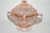"**Vintage Pink Depression Glass ""Sharon"" Sugar Bowl"