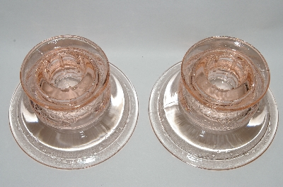 **MBA #64-135  Vintage Pink Depression Glass Pair Of Round Candle Stick Holders