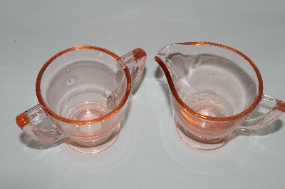 **MBA #64-111  Vintage Pink Depression Glass Small Cream & Sugar Set