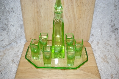 **Czechoslovakian Green Glass Shot Glass & Decanter Set #5059