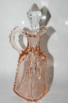 "MBA #64-367  Vintage Pink Depression Glass ""Fostoria"" Cruet With Clear Glass Stopper"