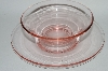 **Vintage Pink Depression Glass Bowl & Saucer Set