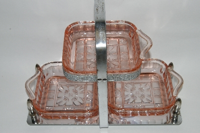 ** Vintage Pink Depression Glass 4 Piece Relish Server/Vintage Condiment Server