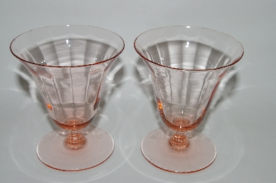 ** Vintage Pink Depression Glass Set Of 2 Fancy Juice Glass's?