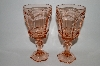 "**Vintage Pink Depression Glass ""Set Of 4 "" Wine Goblets"